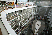Oasis of the Seas at the shipyard in Turku, Finland where she is being built..Photos show Royal Caribbean's latest  ship 2 months before completion. .View of Central Park.