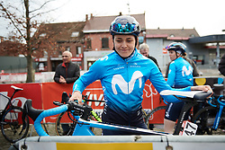 Alba Teruel (ESP) arrives to sign on at Le Samyn des Dames 2019, a 101 km road race from Quaregnon to Dour, Belgium on March 5, 2019. Photo by Sean Robinson/velofocus.com