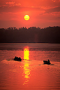 Image of Claytor Lake with rowers and boaters, Virginia, east coast by Randy Wells