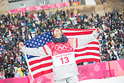 Kyle Mack, USA, BRONZE,  at the mens snowboard big air flower ceremony at the Pyeongchang 2018 Winter Olympics on 24th February 2018, at the Alpensia Ski Jumping Centre in Pyeongchang-gun, South Korea