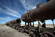 """Just outside of Uyuni, in south-west Bolivia, is a train graveyard - the railway was built by the British in the late 19th Century for the mining industry. It was sabotaged by the locals who believed it was intrusive. In the 1940s the mining industry collapsed and the trains were abandoned, leaving this """"Train Graveyard"""""""