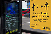 In the UK, 32,313 people have now died after testing positive for coronavirus which is now the highest death toll in Europe, even exceeding that of Italy. With UK lockdown continuing, social distancing measures are posted at bus stops around the capital in preparation of a return to work and public transport for some workers in the near future, on 5th May 2020, in London, England.