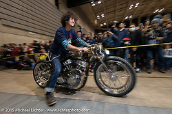 "Kaichiroh ""Kross"" Kurosu of Cherry's Company Tokyo on the 2014 Mooneyes Best-of-Show 1975 HD Shovelhead as he kicks off the Grand Entry into the Mooneyes Yokohama Hot Rod & Custom Show. Yokohama, Japan. December 6, 2015.  Photography ©2015 Michael Lichter."