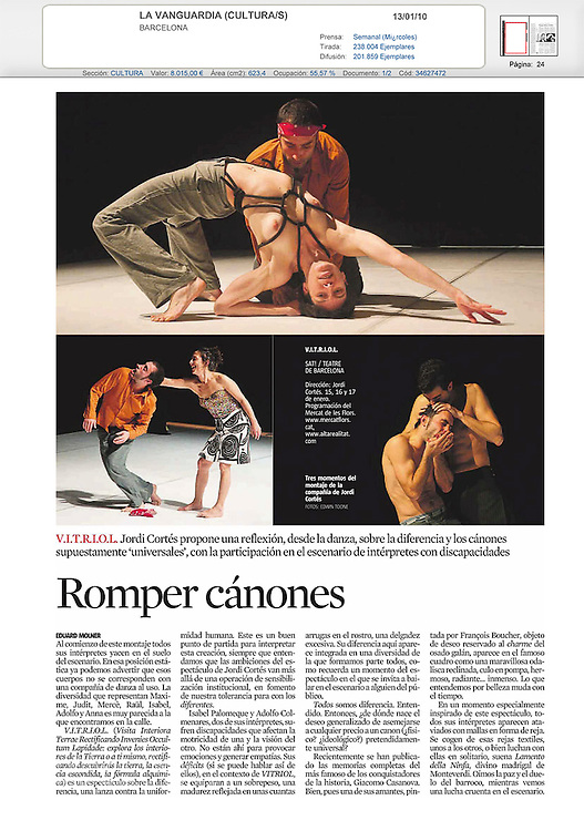 Tear sheet from La Vanguardia (Cultural) 13/01/10. Article by: Eduarde Molner