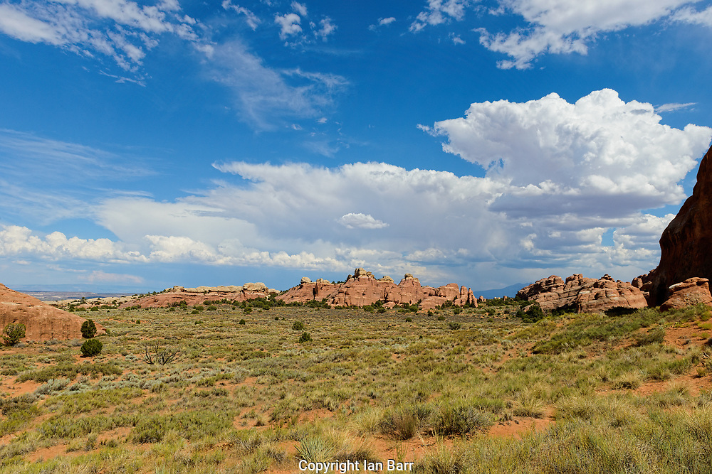 A view of devils garden area of Arches National Park.