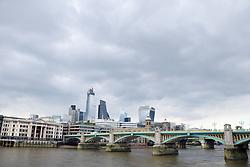 London City skyline, April 2019 UK. Southwark Bridge in foreground