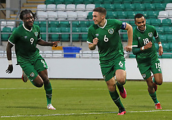 Republic of Ireland's Conor Coventry (centre) celebrates scoring their side's second goal of the game with team-mates during the UEFA Under-21 Championship Qualifying Round Group F match at the Tallaght Stadium, Dublin. Picture date: Friday October 8, 2021.