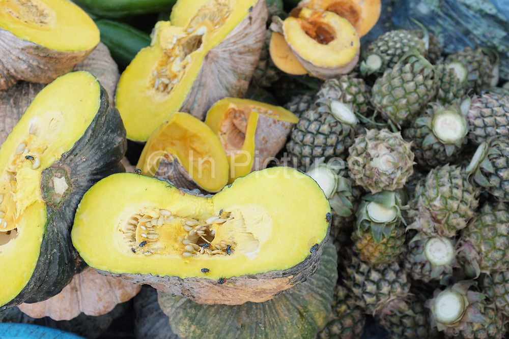 Pumpkins and pineapples for sale at Daeum Kor morning market in Phnom Penh, the capital city of Cambodia. A large variety of local products are available for sale in fresh markets all over Cambodia, all being sold on small individual stalls.