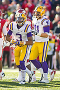 Nov 23, 2012; Fayetteville, AR, USA; Louisiana State Tigers wide receiver Odell Beckham Jr. (3) and tight end Travis Dickson (41) prepare for a play during a game against the Arkansas Razorbacks at Donald W. Reynolds Stadium.  LSU defeated Arkansas 20-13. Mandatory Credit: Beth Hall-US PRESSWIRE