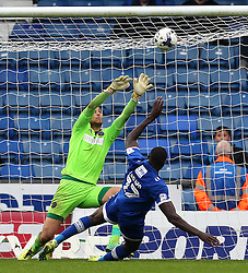 Freddie Ladapo of Oldham Athletic misses a late chance to equalise - Mandatory by-line: Matt McNulty/JMP - 03/09/2016 - FOOTBALL - Sportsdirect.com Park - Oldham, England - Oldham Athletic v Shrewsbury Town - Sky Bet League One