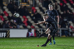 Arwel Robson of Dragons takes a kick at goal<br /> <br /> Photographer Craig Thomas/Replay Images<br /> <br /> Guinness PRO14 Round 7 - Dragons v Zebre - Saturday 30th November 2019 - Rodney Parade - Newport<br /> <br /> World Copyright © Replay Images . All rights reserved. info@replayimages.co.uk - http://replayimages.co.uk