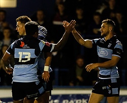 Tomos Williams of Cardiff Blues celebrates scoring his sides second try<br /> <br /> Photographer Simon King/Replay Images<br /> <br /> Guinness PRO14 Round 4 - Cardiff Blues v Munster - Friday 21st September 2018 - Cardiff Arms Park - Cardiff<br /> <br /> World Copyright © Replay Images . All rights reserved. info@replayimages.co.uk - http://replayimages.co.uk