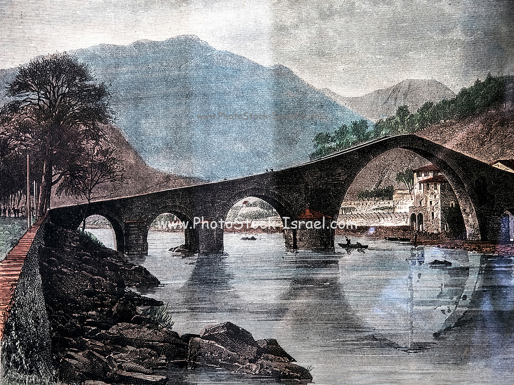 Ancient print of a drawing of the Ponte della Maddalena (the Bridge of Mary Magdalene) a bridge crossing the Serchio river near the town of Borgo a Mozzano in the Italian province of Lucca, Tuscany, Italy