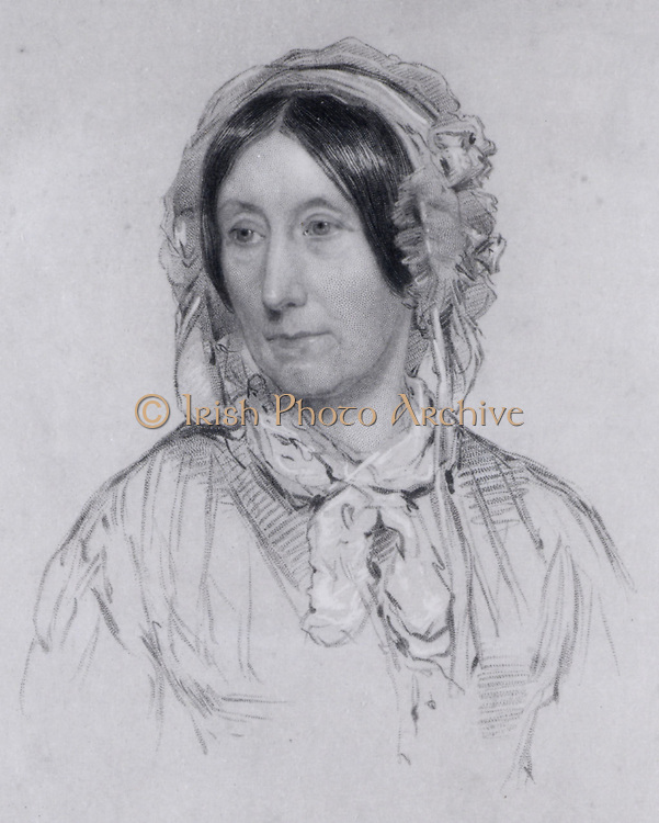 Mary Somerville (born Fairfax -1780-1872) Scottish scientific writer, born in Jedburgh.  After she was widowed in 1807she had the opportunity to study mathematics and astronomy and her second husband  whom she married in 1812 encouraged her intellectual pursuits.  Her translation of 'Mecanique Celeste' by Pierre Laplace, published as 'The Mechanism of the Heavens' (1831) brought her fame.  Supported female education and emancipation and Somerville College, Oxford University, was named for her (1879). Engraving after the drawing of 1848 by James Swinton from the frontispiece of her 'Physical Geography' (London, 1858).