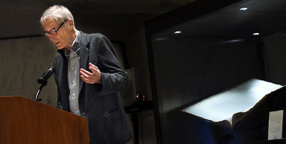 (Photo by Mara Lavitt)<br /> November 11, 2014<br /> Poet Mark Strand read at the Beinecke Rare Book and Manuscript Library, Yale University.<br /> mara@maralavitt.com