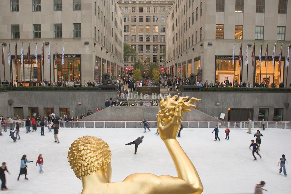ice skating at the Rockefeller Center in New York City