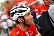 Arrival, Fabio Felline (ITA - Trek - Segafredo), injury, during the UCI World Tour, Tour of Spain (Vuelta) 2018, Stage 6, Huercal Overa - San Javier Mar Menor 155,7 km in Spain, on August 30th, 2018 - Photo Luca Bettini / BettiniPhoto / ProSportsImages / DPPI