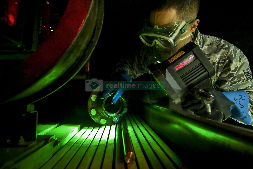 Apr 22, 2017 - Joint Base McGuire-Dix-Lakehurst, New Jersey, U.S. - Illuminating Inspection. Air Force Senior Airman Ronald Anazco examines a KC-135 Stratotanker part during a training session at Joint Base McGuire-Dix-Lakehurst, N.J., April 22, 2017. Anazco is assigned to the New Jersey Air National Guard's 108th Maintenance Squadron nondestructive inspection shop. Air National Guard photo by Master Sgt. Matt Hecht. (Credit Image: ? Master Sgt. Matt Hecht/DoD via ZUMA Wire/ZUMAPRESS.com)