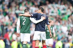 Hibernian's Tim Clancy and Falkirk's Lyle Taylor at the end..Hibernian 4 v 3 Falkirk, William Hill Scottish Cup Semi Final, Hampden Park..©Michael Schofield..