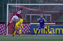 Stenhousemuir's Conor McBrearty (22) scoring their first goal. Half time : Stenhousemuir 2 v 2 Falkirk, 3rd Round of the William Hill Scottish Cup played 24/11/2018 at Ochilview Park, Larbert.