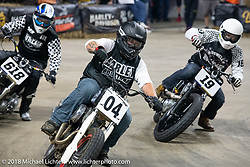 Flat Out Friday flat track racing on the Dr. Pepper-covered track in the UW-Milwaukee Panther Arena during the Harley-Davidson 115th Anniversary Celebration event. Milwaukee, WI. USA. Friday August 31, 2018. Photography ©2018 Michael Lichter.