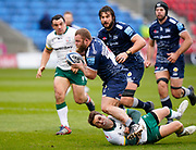 London Irish Scrum-half Ben Meehan tackles Sale Sharks hooker Akker Van Der Merwe as he breaks through London Irish defence during a Gallagher Premiership Round 14 Rugby Union match, Sunday, Mar 21, 2021, in Eccles, United Kingdom. (Steve Flynn/Image of Sport)