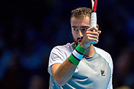Marin Cilic of Croatia challenges a line call  during the Nitto ATP World Tour Finals at the O2 Arena, London, United Kingdom on 16 November 2018. Photo by Martin Cole