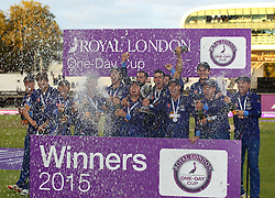Gloucestershire celebrate lifting the Royal London One Day Cup Trophy - Mandatory byline: Robbie Stephenson/JMP - 07966 386802 - 19/09/2015 - Cricket - Lord's Cricket Ground - London, England - Gloucestershire CCC v Surrey CCC - Royal London One-Day Cup Final