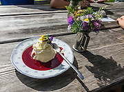 """Delicious freshly-farmed panna cotta with raspberry sauce is served at remote Widderalp mountain restaurant, in the Alpstein limestone range, Appenzell Alps, Switzerland, Europe. Himbeer is German for raspberry. Panna cotta (Italian for """"cooked cream"""") is a dessert of sweetened cream thickened with gelatin and molded. The cream may be aromatized with rum, coffee, vanilla, or other flavorings. Located below Bötzel pass and accessible only to hikers, Widderalp comforts hikers with a homey restaurant and dormitory style (Matratzenlager) lodging. Appenzell Innerrhoden is Switzerland's most traditional and smallest-population canton (second smallest by area)."""