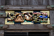 """""""The young monkeys looking up to the blue clouds signifies their ambition."""" Hidari Jingoro may have carved these panels to incorporate Confucius's Code of Conduct, using the monkey as a way to depict man's life cycle. Art work on storehouse in Toshogu shrine in Nikko, Japan. The monkeys are Japanese macaques, a common species in Japan. Toshogu Shrine is the final resting place of Tokugawa Ieyasu, the founder of the Tokugawa Shogunate that ruled Japan for over 250 years until 1868. Ieyasu is enshrined at Toshogu as the deity Tosho Daigongen, """"Great Deity of the East Shining Light"""". Initially a relatively simple mausoleum, Toshogu was enlarged into the spectacular complex seen today by Ieyasu's grandson Iemitsu during the first half of the 1600s. The lavishly decorated shrine complex consists of more than a dozen buildings set in a beautiful forest. Toshogu contains both Shinto and Buddhist elements, as was common until the Meiji Period when Shinto was deliberately separated from Buddhism. Toshogu is part of Shrines and Temples of Nikko UNESCO World Heritage site."""