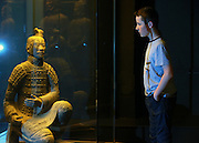 NO FEE PICTURES<br /> 3/7/14 Luke Duffy, age 11, Armagh at the grand opening of Terracotta Warriors (The Terracotta army of the first Emporer of China), at the Ambassador Theatre, open from the 4th July. in Dublin.Tickets on sale from Ticketmaster and venue box office. Picture: Arthur Carron