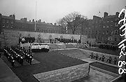 11/04/1966<br /> 04/11/1966<br /> 11 April 1966<br /> 1916 Jubilee Commemorations- Opening and Blessing Ceremony at the Garden of Remembrance, Parnell Square, Dublin. Image shows a arrival of dignitaries at the Garden and the ceremony. Note guard of honour standing on wall.