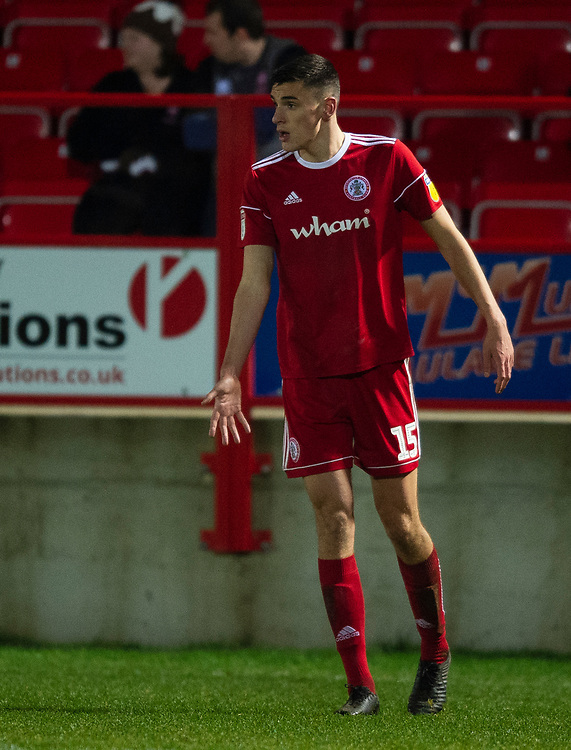 Accrington Stanley's Ross Sykes<br /> <br /> Photographer Andrew Vaughan/CameraSport<br /> <br /> The EFL Checkatrade Trophy Second Round - Accrington Stanley v Lincoln City - Crown Ground - Accrington<br />  <br /> World Copyright © 2018 CameraSport. All rights reserved. 43 Linden Ave. Countesthorpe. Leicester. England. LE8 5PG - Tel: +44 (0) 116 277 4147 - admin@camerasport.com - www.camerasport.com