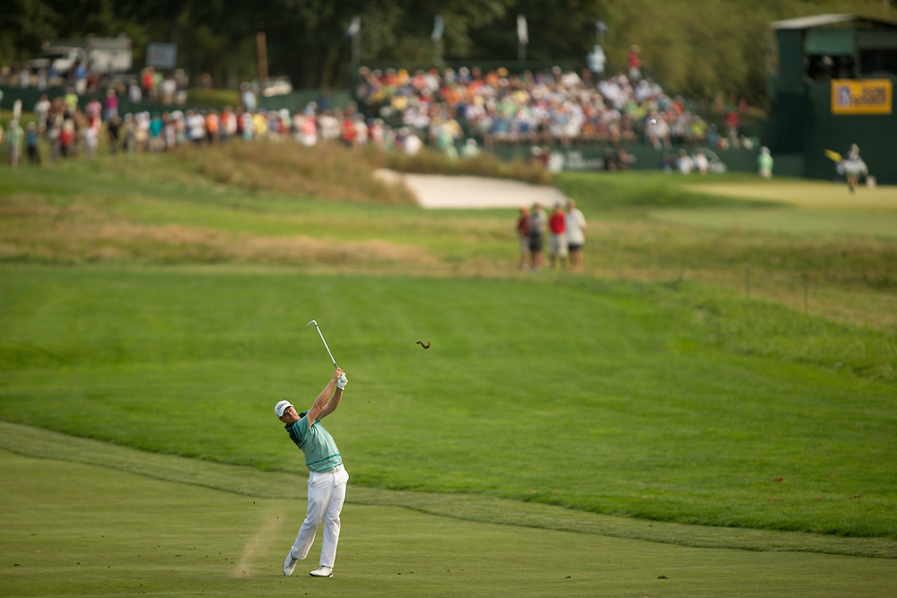 FARMINGDALE, NY - AUGUST 26:  Nick Watney plays an approach shot during the final round of the 2012 Barclays at the Black Course at Bethpage State Park in Farmingale, New York on August 26, 2012. (Photograph ©2012 Darren Carroll) *** Local Caption *** Nick Watney