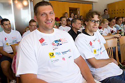 Miro Vodovnik and Rozle Prezelj at press conference of team Slovenia at arrival at the end of European Athletics Championships Barcelona 2010 to Slovenia, on August 2, 2010 at Airport Joze Pucnik, Brnik, Slovenia. (Photo by Vid Ponikvar / Sportida)