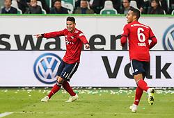 WOLFSBURG, Oct. 21, 2018  Bayern Munich's James Rodriguez (L) celebrates scoring during a German Bundesliga match between Wolfsburg and Bayern Munich, in Wolfsburg, Germany, on Oct. 20, 2018. Bayern Munich won 3-1. (Credit Image: © Xinhua via ZUMA Wire)