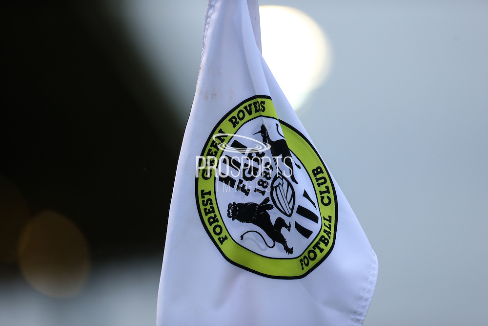 FGR corner flag during the Glos Senior Cup Final match between Forest Green Rovers and Bishops Cleeve at the New Lawn, Forest Green, United Kingdom on 2 May 2016. Photo by Shane Healey.