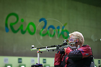 20160908 Copyright onEdition 2016©<br /> Free for editorial use image, please credit: onEdition<br /> <br /> Shooter Lorraine Lambert, R2 - 10m Air Rifle Standing SH1 - Women, from Portsmouth, competing for ParalympicsGB at the Rio Paralympic Games 2016.<br />  <br /> ParalympicsGB is the name for the Great Britain and Northern Ireland Paralympic Team that competes at the summer and winter Paralympic Games. The Team is selected and managed by the British Paralympic Association, in conjunction with the national governing bodies, and is made up of the best sportsmen and women who compete in the 22 summer and 4 winter sports on the Paralympic Programme.<br /> <br /> For additional Images please visit: http://www.w-w-i.com/paralympicsgb_2016/<br /> <br /> For more information please contact the press office via press@paralympics.org.uk or on +44 (0) 7717 587 055<br /> <br /> If you require a higher resolution image or you have any other onEdition photographic enquiries, please contact onEdition on 0845 900 2 900 or email info@onEdition.com<br /> This image is copyright onEdition 2016©.<br /> <br /> This image has been supplied by onEdition and must be credited onEdition. The author is asserting his full Moral rights in relation to the publication of this image. Rights for onward transmission of any image or file is not granted or implied. Changing or deleting Copyright information is illegal as specified in the Copyright, Design and Patents Act 1988. If you are in any way unsure of your right to publish this image please contact onEdition on 0845 900 2 900 or email info@onEdition.com