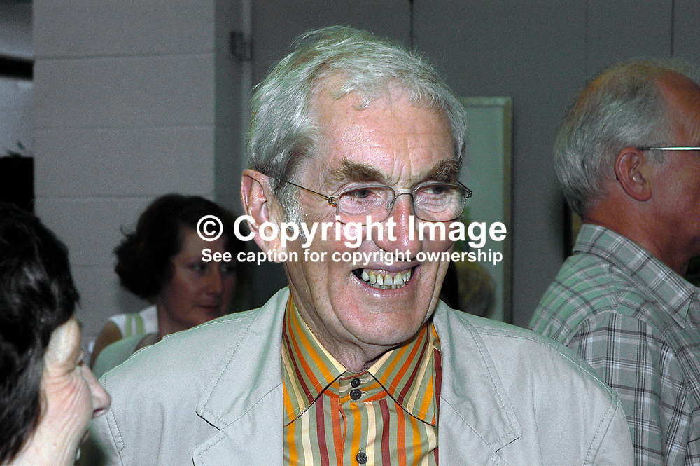 Brian Boyd, Belfast, N Ireland. One-time broadcaster of early educational programmes with UTV. Ref: 200208130281.<br /> <br /> Copyright Image from Victor Patterson, Belfast, UK<br /> <br /> t: +44 28 9066 1296 (from Rep of Ireland 048 9066 1296)<br /> m: +44 7802 353836<br /> e: victorpattersonbelfast@gmail.com<br /> <br /> www.images4media.com<br /> <br /> Please see my full Terms and Conditions of Use at https://www.images4media.com/p/terms-conditions - it is IMPORTANT that you familiarise yourself with them.<br /> <br /> Images used online incur an additional cost. This cost should be agreed in writing in advance. Online images must be visibly watermarked i.e. © Victor Patterson or that of the named photographer within the body of the image. The original metadata must not be deleted from images used online.<br /> <br /> This image is only available for the use of the download recipient i.e. television station, newspaper, magazine, book publisher, etc, and must not be passed on to a third party. It is also downloaded on condition that each and every usage is notified within 7 days to victorpattersonbelfast@gmail.com.<br /> <br /> The right of Victor Patterson (or the named photographer) to be identified as the author is asserted in accordance with The Copyright Designs And Patents Act (1988). All moral rights are asserted.