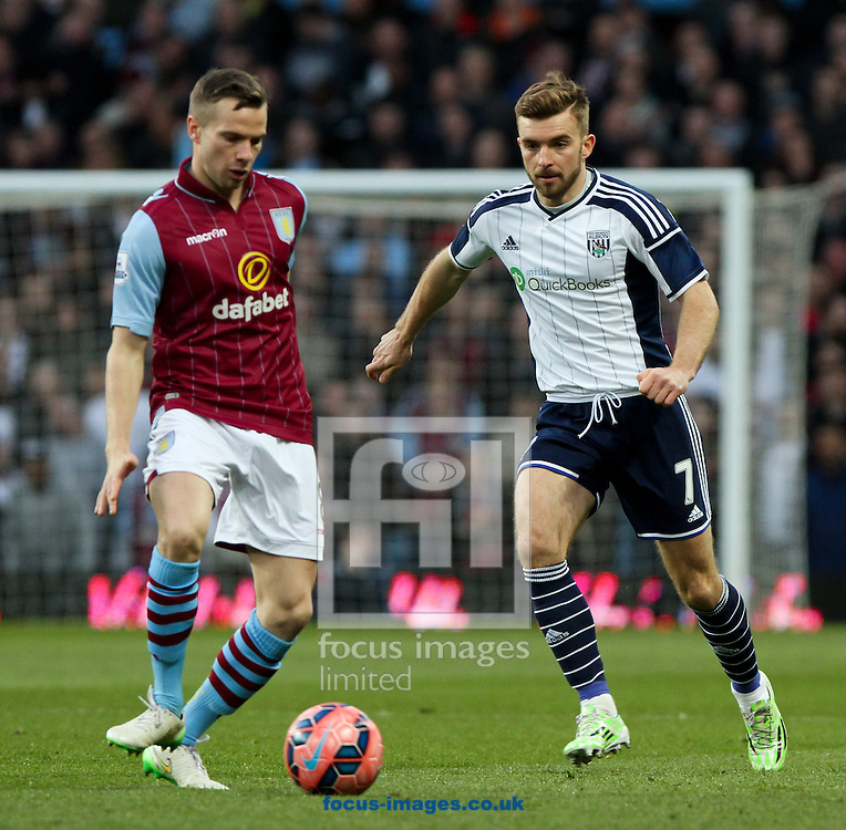 James Morrison (right) of West Bromwich Albion looks to tackle Tom Cleverley (left) of Aston Villa during the FA Cup match at Villa Park, Birmingham<br /> Picture by Tom Smith/Focus Images Ltd 07545141164<br /> 07/03/2015