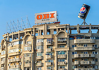 BUCHAREST, ROMANIA - September 29, 2012: Close up of a typical buildiing near Piata Unirii in the Bucharest Downton.
