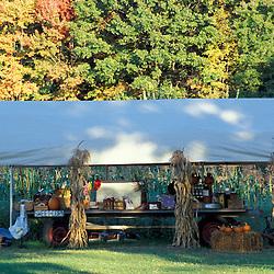 Bolton, MA.  USA.  A farm stand on the Schartner Farm in Massachusetts' Nashoba Valley.  Apple orchard.