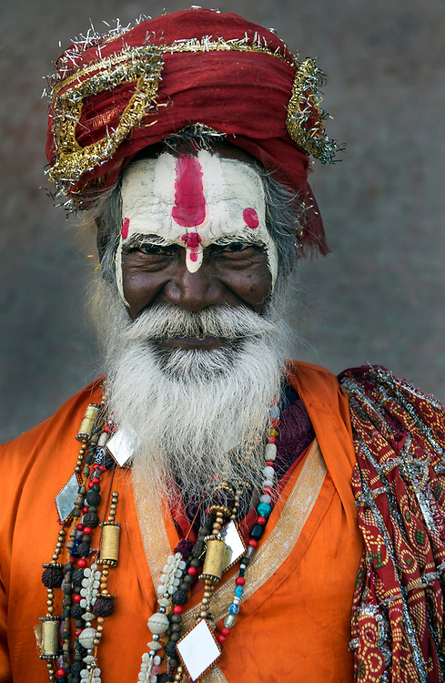 Portrait of a sadhu - Hindu holy man - on the ghats of the Ganges at Varanasi.