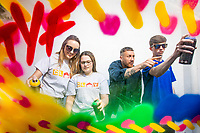 No repro fee<br /> 13-6-2018<br /> Get Creative: <br /> Picture shows from left Lisa Carroll (Clay Youth Project Worker); Rebecca Clifford (16, Crumlin); street artist Maser; and  Lee Prendiville (16, Crumlin) as street artist Maser teams up with young people from Clay Youth Project in Crumlin as part of the 2018 Coca-Cola Thank You Fund. Maser and the young people will create a mural over a series of workshops, demonstrating the importance of youth initiatives. The Coca-Cola Thank You Fund provides €100,000 in funding for youth-oriented projects. Apply today at www.coca-cola.ie/thankyou<br /> Pic:Naoise Culhane-no fee