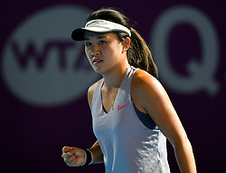 Lin Zhu of China celebrates after winning the final qualifications round against Alison Riske of United States of America at the 2019 WTA Qatar Open in Doha, Qatar, on Feb. 11, 2019. Lin Zhu won 2-0  (Credit Image: © Yangyuanyong/Xinhua via ZUMA Wire)