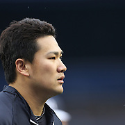 Masahiro Tanaka, New York Yankees, during pre game practice before the New York Yankees V New York Mets, Subway Series game at Yankee Stadium, The Bronx, New York. 12th May 2014. Photo Tim Clayton
