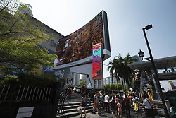 May 5, 2019 - Bangkok, Bangkok, Thailand - A live feed of  HRH King Phra Vajira Klao Chao Yu Hua's coronation rituals is displayed on a massive screen outside of Bangkok's Central World shopping mall. (Credit Image: © Adryel Talamantes/ZUMA Wire)