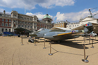 Douglas DC3 Dakota, Gloster Meteor F4, RAF100 Aircraft Tour London, Horse Guards, Whitehall, Westminster, London, UK, 05 July 2018, Photo by Richard Goldschmidt, To celebrate the Centenary of the Royal Air force The RAF100 Aircraft Tour is a public display of iconic RAF aircraft in city locations around the country.