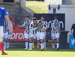 Dunfermline's Ryan Wallace (16) cele scoring their third goal from the penalty spot. <br /> Dunfermline 5 v 1 Cowdenbeath, Scottish League Cup game played today at East End Park.