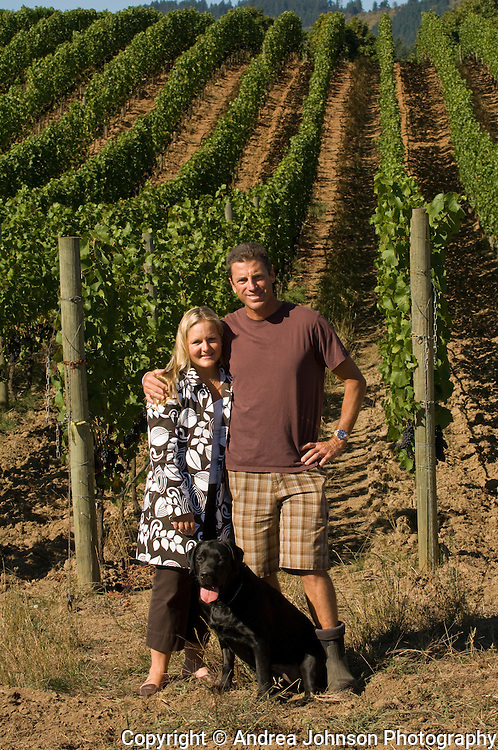 Paul & Kendall de Lancellotti standing in their de Lancellotti vineyard, Yamhill-Carlton AVA, Willamette Valley, Oregon